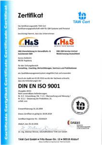 H+S Zertifikat ISO 9001